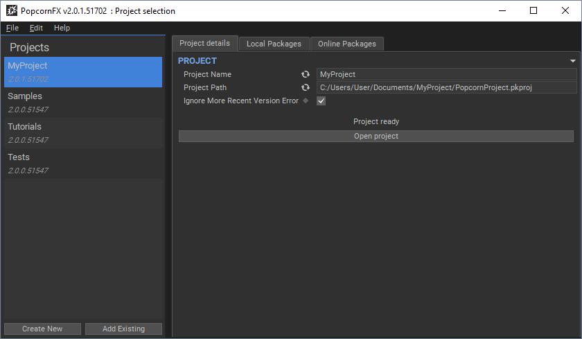 Project Launcher - PopcornFX v2 Official Documentation