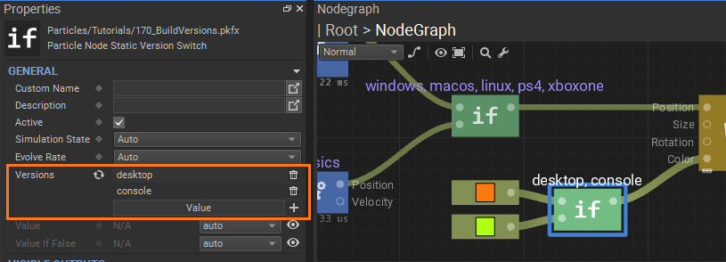 Static version switch node: setting up version tags