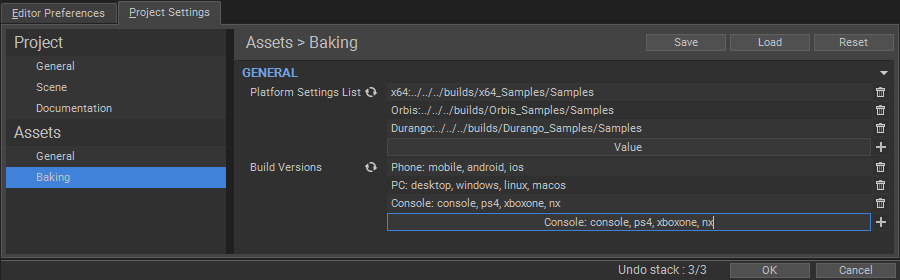 Build versions: Project settings